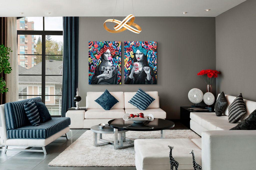 Dama Armiño y Gioconda Pinturas Schuller Paintings