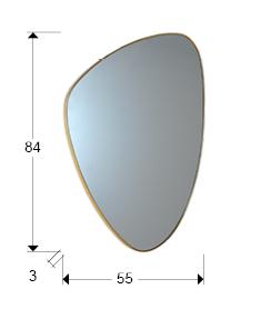 Espejo de cristal Orio con forma de triángulo acabado oro
