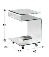 Mesa de cristal cuadrada con ruedas para comedor