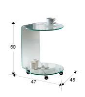 Mesa auxiliar con ruedas en cristal transparente