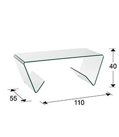 Mesa de centro rectangular de cristal