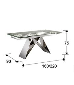 Mesa de comedor extensible en acero inox y cristal