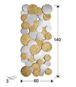 Espejo de círculos biselados oro Cirze 140x60