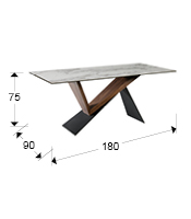 Mesa de comedor madera nogal y cristal NOA