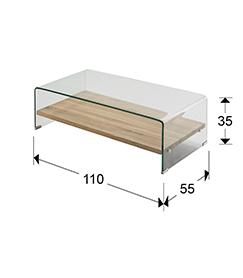 Mesa de centro en madera y cubierta de cristal SONOMA