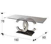 Mesa de comedor acero inox y cristal templado CALIMA II