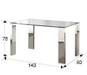 Mesa de comedor Malibu acero inoxidable 140x80