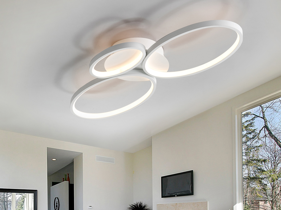 Schuller Lighting Flush Ceiling Lamps Sios 518394  ·SIOS· LED CEILING LAMP,3 RINGS,WHITE
