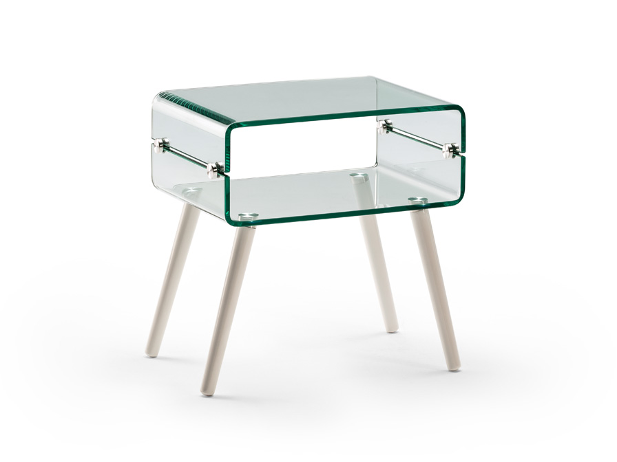 Schuller Furniture Side tables Glass II 552933  ·GLASS II·SIDE TABLE,WHITE LEG